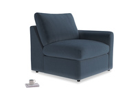 Chatnap Storage Single Seat in Liquorice Blue clever velvet with a right arm