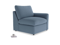 Chatnap Storage Single Seat in Nordic blue brushed cotton with a right arm