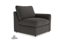 Chatnap Storage Single Seat in Old Charcoal brushed cotton with a right arm