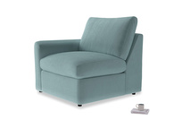 Chatnap Storage Single Seat in Lagoon clever velvet with a left arm