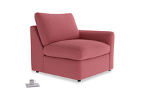 Chatnap Storage Single Seat in Raspberry brushed cotton with a right arm
