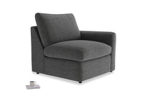 Chatnap Storage Single Seat in Shadow Grey wool with a right arm