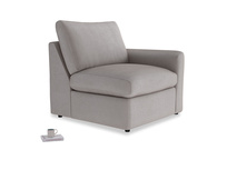 Chatnap Storage Single Seat in Soothing grey vintage velvet with a right arm