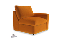 Chatnap Storage Single Seat in Spiced Orange clever velvet with a right arm