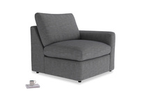 Chatnap Storage Single Seat in Strong grey clever woolly fabric with a right arm