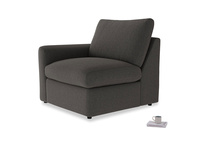 Chatnap Storage Single Seat in Old Charcoal brushed cotton with a left arm