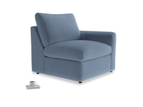 Chatnap Storage Single Seat in Winter Sky clever velvet with a right arm