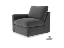 Chatnap Storage Single Seat in Shadow Grey wool with a left arm
