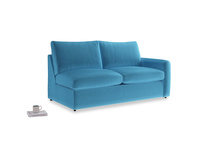 Chatnap Sofa Bed in Teal Blue plush velvet with a right arm