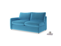 Chatnap Sofa Bed in Teal Blue plush velvet with a left arm