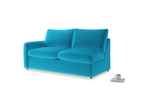 Chatnap Sofa Bed in Azure plush velvet with a left arm