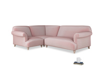 Large left hand Soufflé Modular Corner Sofa in Chalky Pink vintage velvet with both arms