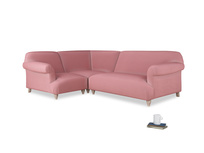 Large left hand Soufflé Modular Corner Sofa in Dusty Rose clever velvet with both arms