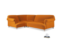 Large left hand Soufflé Modular Corner Sofa in Spiced Orange clever velvet with both arms