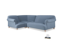 Large left hand Soufflé Modular Corner Sofa in Winter Sky clever velvet with both arms