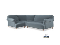 Large left hand Soufflé Modular Corner Sofa in Mermaid plush velvet with both arms