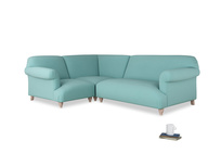 Large left hand Soufflé Modular Corner Sofa in Kingfisher clever cotton with both arms