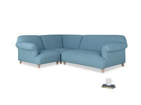 Large left hand Soufflé Modular Corner Sofa in Moroccan blue clever woolly fabric with both arms
