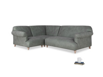 Large left hand Soufflé Modular Corner Sofa in Faded Charcoal beaten leather with both arms