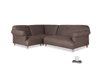Large left hand Soufflé Modular Corner Sofa in Dark Chocolate beaten leather with both arms