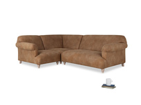 Large left hand Soufflé Modular Corner Sofa in Walnut beaten leather with both arms