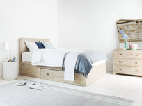 Woody reclaimed wood storage bed