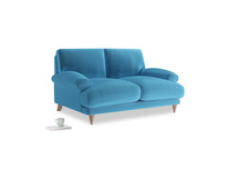 Small Slowcoach Sofa in Teal Blue plush velvet