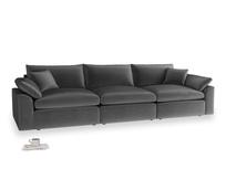 Large Cuddlemuffin Modular sofa in Scuttle grey vintage velvet