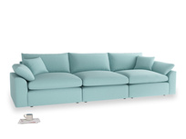 Large Cuddlemuffin Modular sofa in Adriatic washed cotton linen