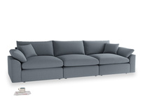 Large Cuddlemuffin Modular sofa in Blue Storm washed cotton linen