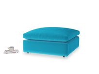 Cuddlemuffin Footstool in Azure plush velvet