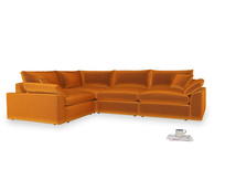 Large left hand Cuddlemuffin Modular Corner Sofa in Spiced Orange clever velvet
