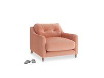 Slim Jim Armchair in Old rose vintage velvet