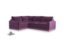 Large left hand Chatnap modular corner storage sofa in Grape clever velvet with both arms