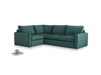 Large left hand Chatnap modular corner storage sofa in Timeless teal vintage velvet with both arms