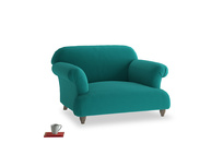 Soufflé Love seat in Indian green Brushed Cotton