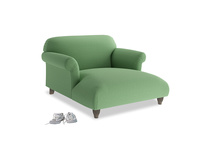 Soufflé Love Seat Chaise in Clean green Brushed Cotton