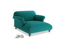 Soufflé Love Seat Chaise in Indian green Brushed Cotton