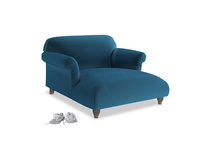 Soufflé Love Seat Chaise in Twilight blue Clever Deep Velvet
