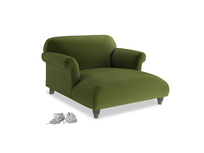 Soufflé Love Seat Chaise in Good green Clever Deep Velvet