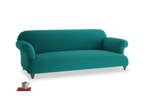Large Soufflé Sofa in Indian green Brushed Cotton