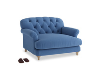 Truffle Love seat in English blue Brushed Cotton