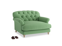Truffle Love seat in Clean green Brushed Cotton
