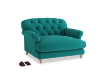 Truffle Love seat in Indian green Brushed Cotton