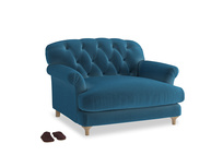 Truffle Love seat in Twilight blue Clever Deep Velvet