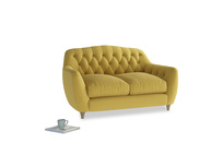 Small Butterbump Sofa in Maize yellow Brushed Cotton