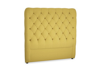 Double Tall Billow Headboard in Maize yellow Brushed Cotton