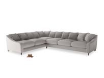 Xl Left Hand Oscar Corner Sofa  in Mouse grey Clever Deep Velvet