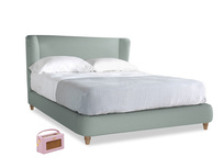 Kingsize Hugger Bed in Sea fog Clever Woolly Fabric