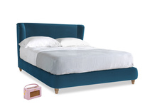 Kingsize Hugger Bed in Twilight blue Clever Deep Velvet